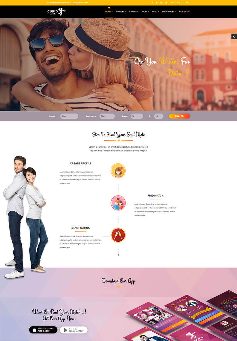 Welcome To Cupid Love Dating Html5 Template