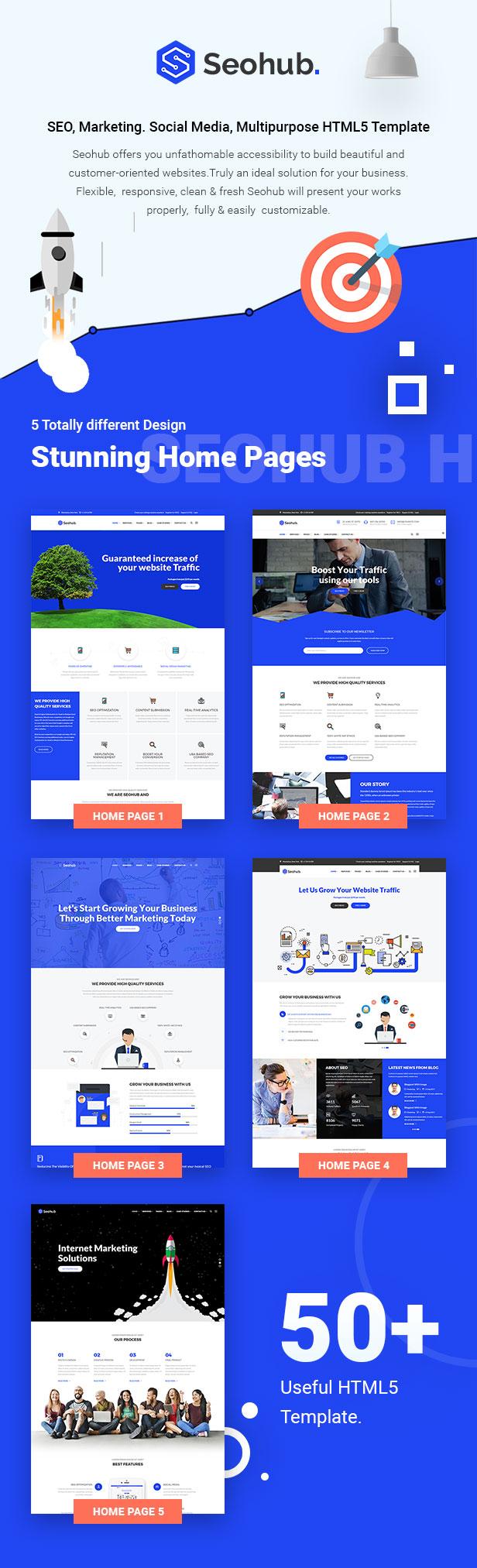 SEOhub - SEO, Marketing, Social Media, Multipurpose HTML5 Template - 6