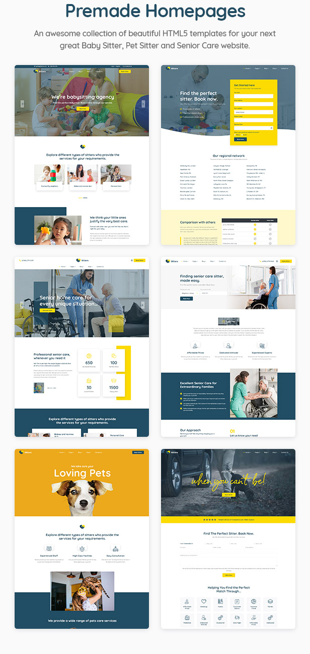 Sitters - Baby Sitter, Pet Sitter and Senior Care HTML5 Template - 2