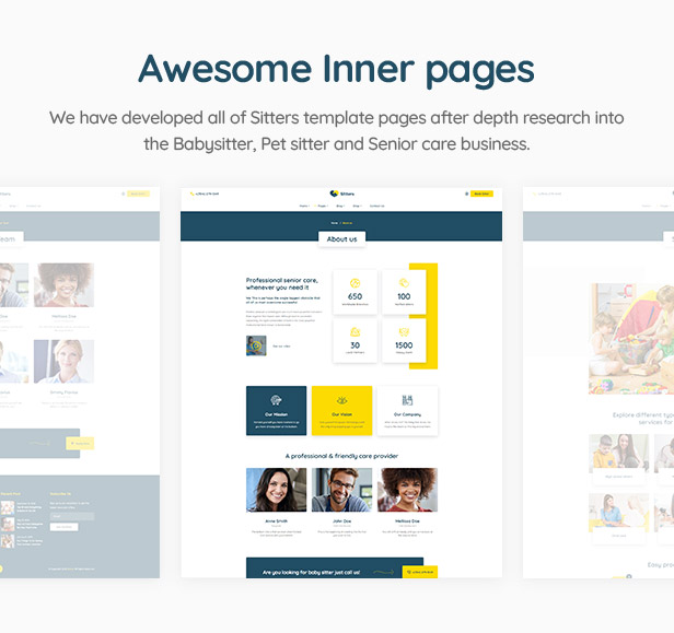 Sitters - Baby Sitter, Pet Sitter and Senior Care HTML5 Template - 3