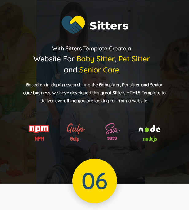Sitters - Baby Sitter, Pet Sitter and Senior Care HTML5 Template - 1