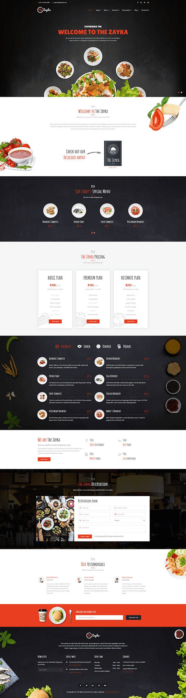 Zayka - Multipurpose Restaurant, Food & Cafe HTML Template